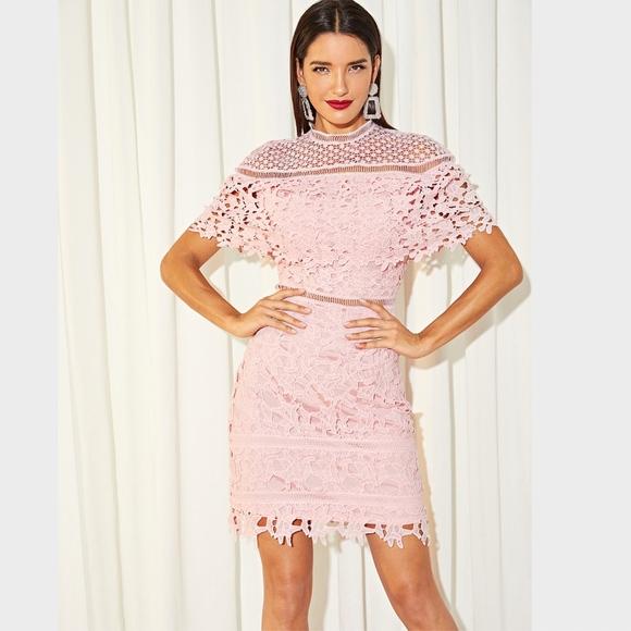 efdc51f60b1 Rouge! Dresses | Mock Neck Guipure Eyelet Lace Dress Pink | Poshmark